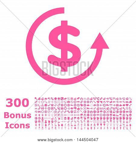 Refund icon with 300 bonus icons. Vector illustration style is flat iconic symbols, pink color, white background.