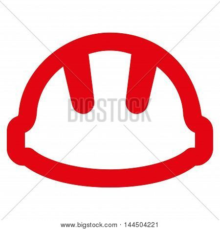 Hardhat vector icon. Style is linear flat icon symbol, red color, white background.
