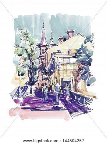 original sketch drawing of Zoloti Vorota place in Kyiv Ukraine, watercolor vector illustration