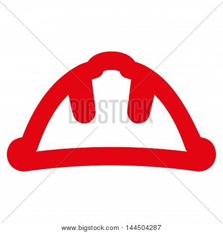 Helmet vector icon. Style is outline flat icon symbol, red color, white background.