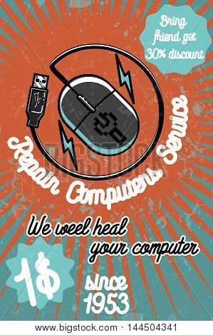 PC repair banner. Computer service, computer store illustration. Creative vector illustration.