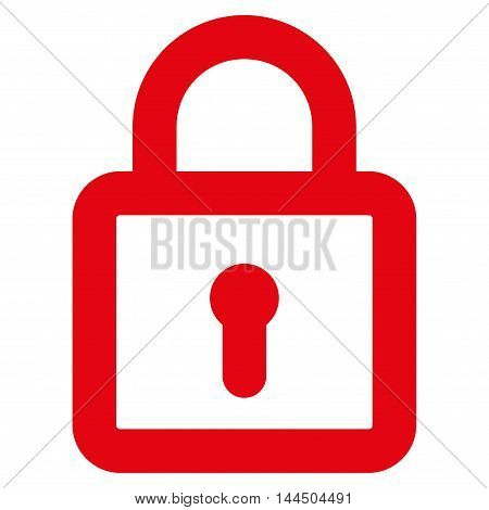 Lock vector icon. Style is contour flat icon symbol, red color, white background.