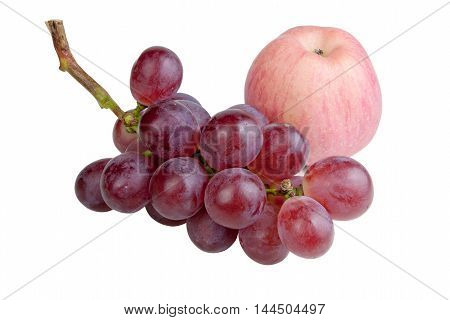 Red grapes and Fuji apples isolated on white background. objects with clipping paths.