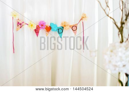 Setup and decorations on wedding day selective focus.