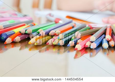 Old used pencil colors, Used pencil colors, Colored used pencils background, Back to school.