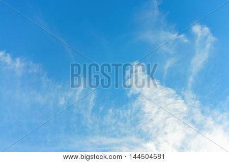Beautiful blue sky with clouds, copy space.