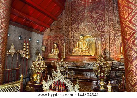 CHIANG MAI THAILAND - October 8 2015 : Wat Phra Sing temple Chiang Mai Province. Phra Buddha Si Hing a famous Buddha image in Thailand Buddhist temple in the old city of Chiang Mai Thailand.