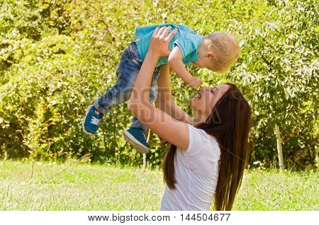 family. Mom and son spend time together