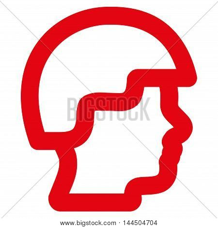 Soldier Head vector icon. Style is stroke flat icon symbol, red color, white background.