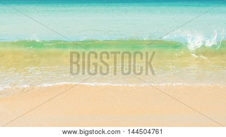 beautiful wave over the beach copy space.