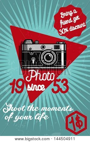 Photography color banner with retro photo studio elements isolated vector illustration