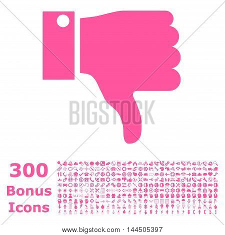 Thumb Down icon with 300 bonus icons. Vector illustration style is flat iconic symbols, pink color, white background.