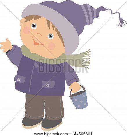 a boy in a winter jacket and a cap cartoon