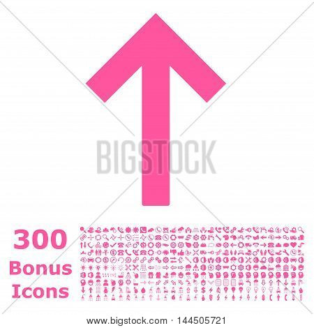 Up Arrow icon with 300 bonus icons. Vector illustration style is flat iconic symbols, pink color, white background.