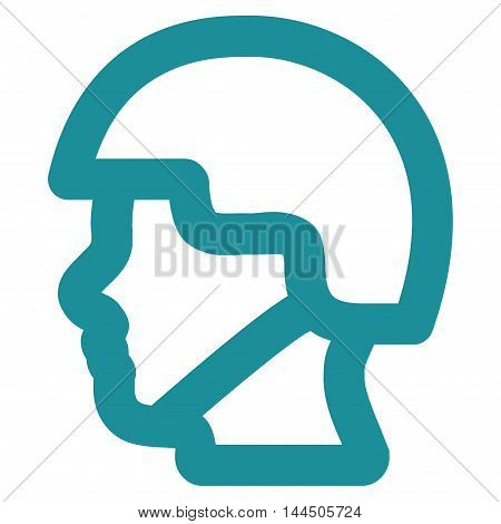 Soldier Head vector icon. Style is outline flat icon symbol, soft blue color, white background.