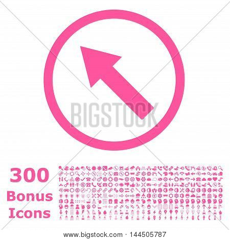 Up-Left Rounded Arrow icon with 300 bonus icons. Vector illustration style is flat iconic symbols, pink color, white background.