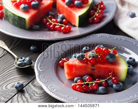 Slice Of Watermelon With Berries
