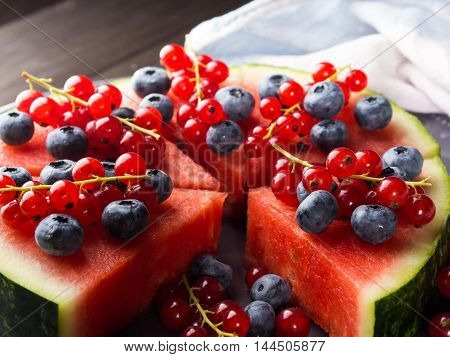 Watermelon Cake With Berries On Rustic Table