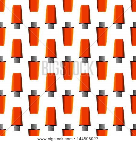 Memory Stick Seamless Pattern on White. Flash Computer Device