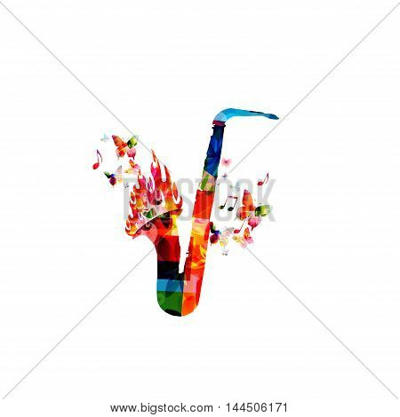 Creative music concept vector illustration, music instruments, saxophone with fire flames, flower ornamented elements. Design for poster, card, brochure, flyer, concert, jjazz festival, music shop