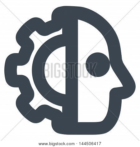 Cyborg vector icon. Style is contour flat icon symbol, smooth blue color, white background.
