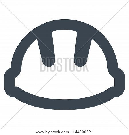 Hardhat vector icon. Style is contour flat icon symbol, smooth blue color, white background.
