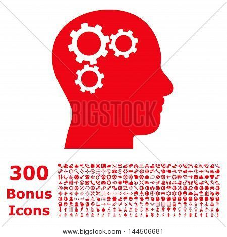 Brain Gears icon with 300 bonus icons. Vector illustration style is flat iconic symbols, red color, white background.
