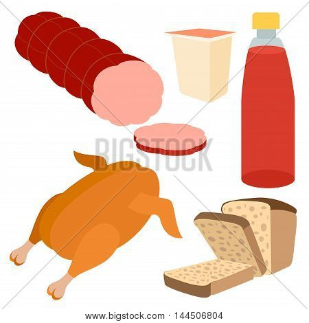 Healthy food flat icons of yogurt, bottle of juice, grilled chiken, bred, sausages on the white background. Restaurant fast food menu elements. Vector illustration