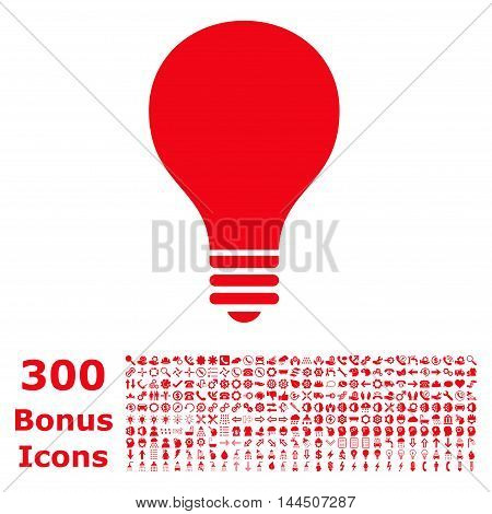 Bulb icon with 300 bonus icons. Vector illustration style is flat iconic symbols, red color, white background.