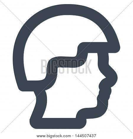 Soldier Head vector icon. Style is outline flat icon symbol, smooth blue color, white background.