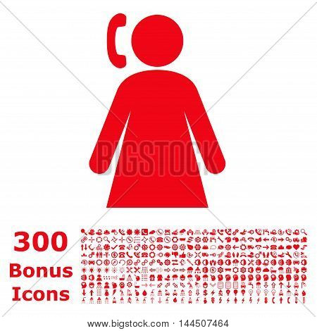 Calling Woman icon with 300 bonus icons. Vector illustration style is flat iconic symbols, red color, white background.
