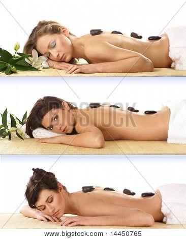 Tres mujeres atractivas spa tratamiento aislado en blanco