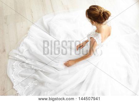 Bride in beautiful wedding gown