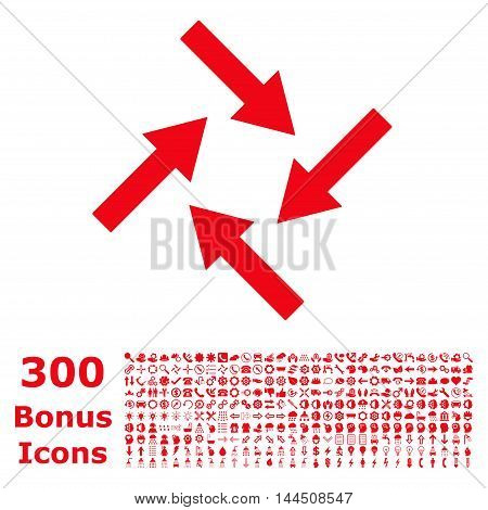 Centripetal Arrows icon with 300 bonus icons. Vector illustration style is flat iconic symbols, red color, white background.