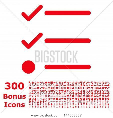 Checklist icon with 300 bonus icons. Vector illustration style is flat iconic symbols, red color, white background.