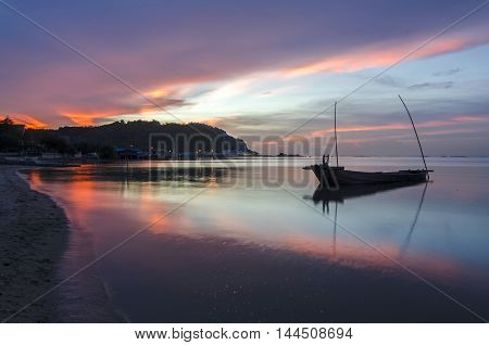 Landscape with sunset and twilight at the seashore and beautiful sky, Bangpha, Thailand