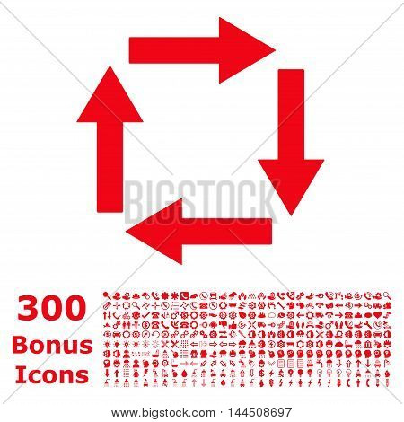 Circulation Arrows icon with 300 bonus icons. Vector illustration style is flat iconic symbols, red color, white background.
