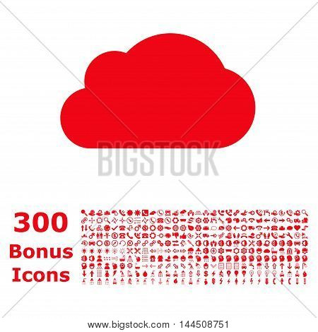 Cloud icon with 300 bonus icons. Vector illustration style is flat iconic symbols, red color, white background.