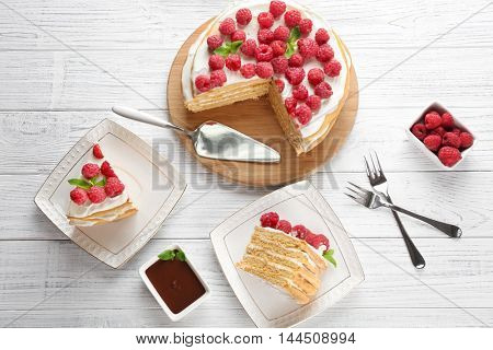 Tasty raspberry cake served for dessert