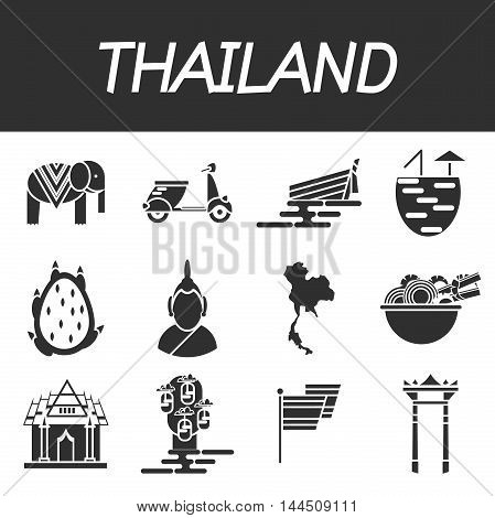 Thailand icons set. Trips and Travel. Vector illustration, EPS 10