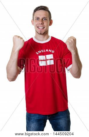 Cheering sports fan from England on an isolated white background for cut out