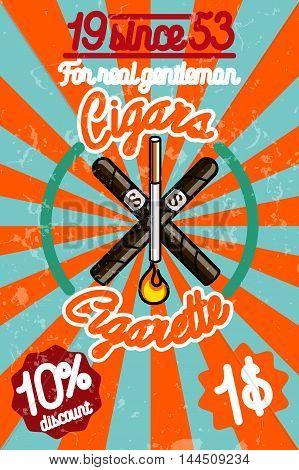 Tobacco shop banner. Label o smoking sticker. Vector illustration, EPS 10