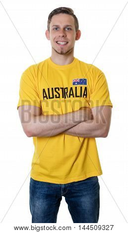 Laughing sports fan from Australia on an isolated white background for cut out