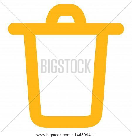 Bucket vector icon. Style is contour flat icon symbol, yellow color, white background.