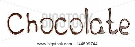 Word CHOCOLATE made of liquid chocolate on white background