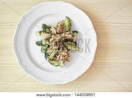 Tasty salad on plate, closeup