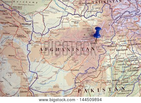 Afghanistan With Pushpin Illustrative Editorial