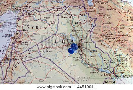 Iraq With Pushpin Illustrative Editorial