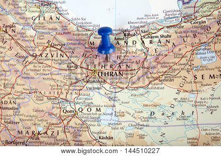 Iran Tehran With Pushpin Illustrative Editorial