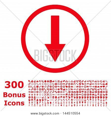 Down Rounded Arrow icon with 300 bonus icons. Vector illustration style is flat iconic symbols, red color, white background.